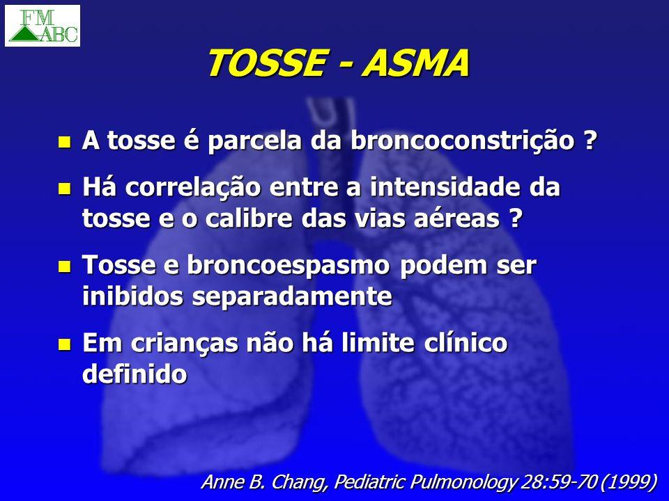 TOSSE - ASMA A tosse é parcela da broncoconstrição ? A tosse é parcela da broncoconstrição ? Há correlação entre a intensidade da tosse e o calibre da