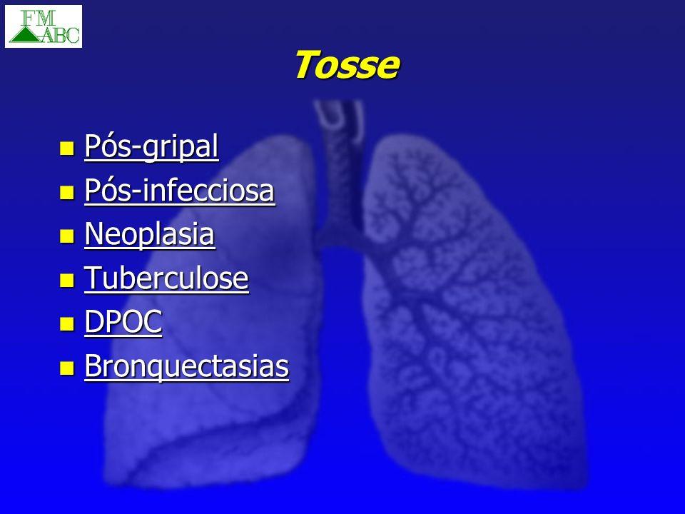 Tosse Pós-gripal Pós-gripal Pós-infecciosa Pós-infecciosa Neoplasia Neoplasia Tuberculose Tuberculose DPOC DPOC Bronquectasias Bronquectasias