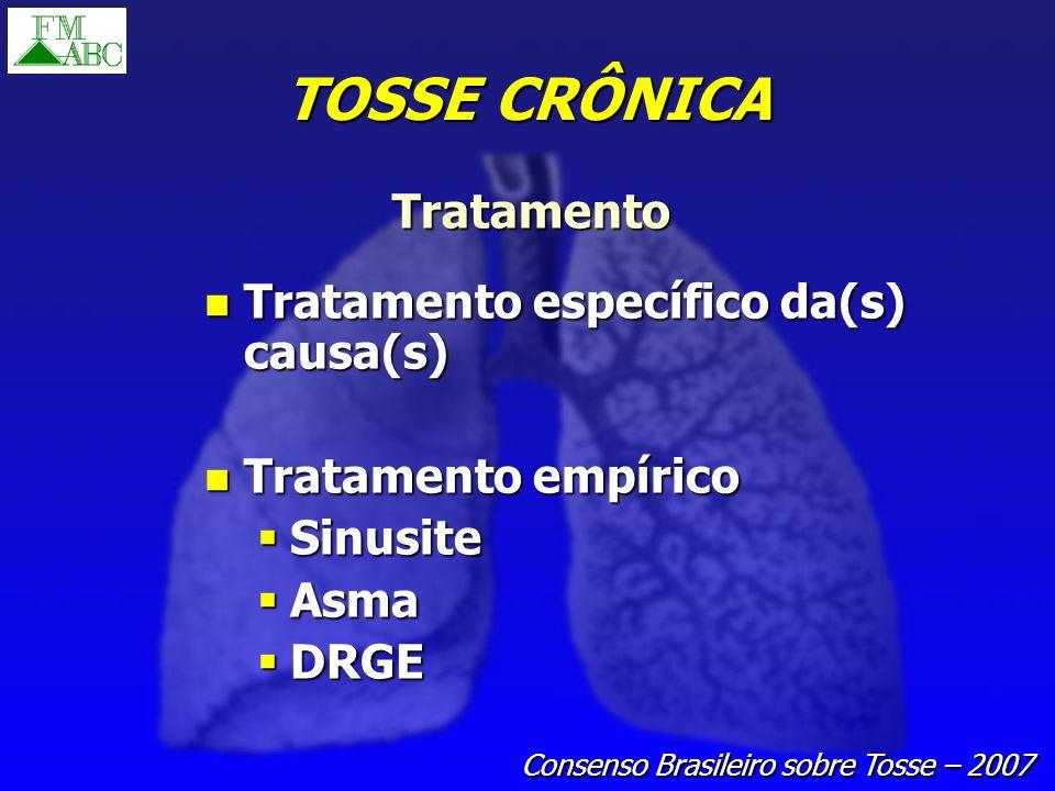 TOSSE CRÔNICA Tratamento Tratamento específico da(s) causa(s) Tratamento específico da(s) causa(s) Tratamento empírico Tratamento empírico Sinusite Si
