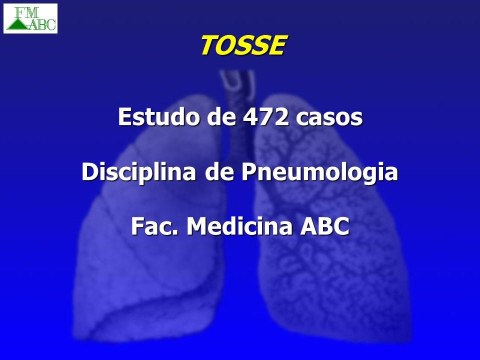 TOSSE Estudo de 472 casos Disciplina de Pneumologia Fac. Medicina ABC