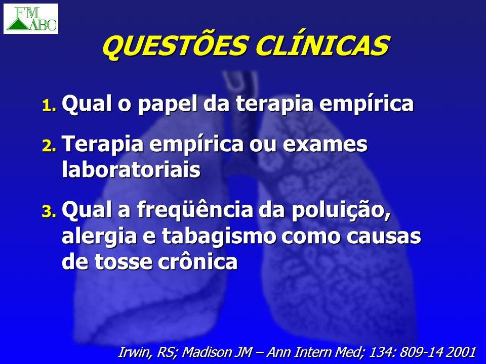 QUESTÕES CLÍNICAS 1. Qual o papel da terapia empírica 2. Terapia empírica ou exames laboratoriais 3. Qual a freqüência da poluição, alergia e tabagism