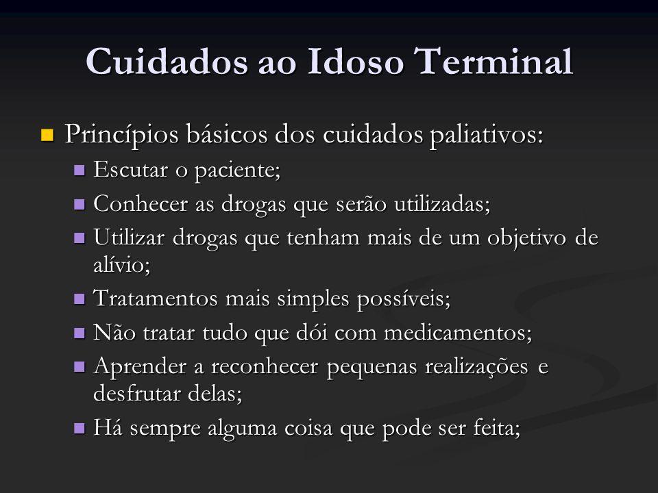 Cuidados ao Idoso Terminal Princípios básicos dos cuidados paliativos: Princípios básicos dos cuidados paliativos: Escutar o paciente; Escutar o pacie