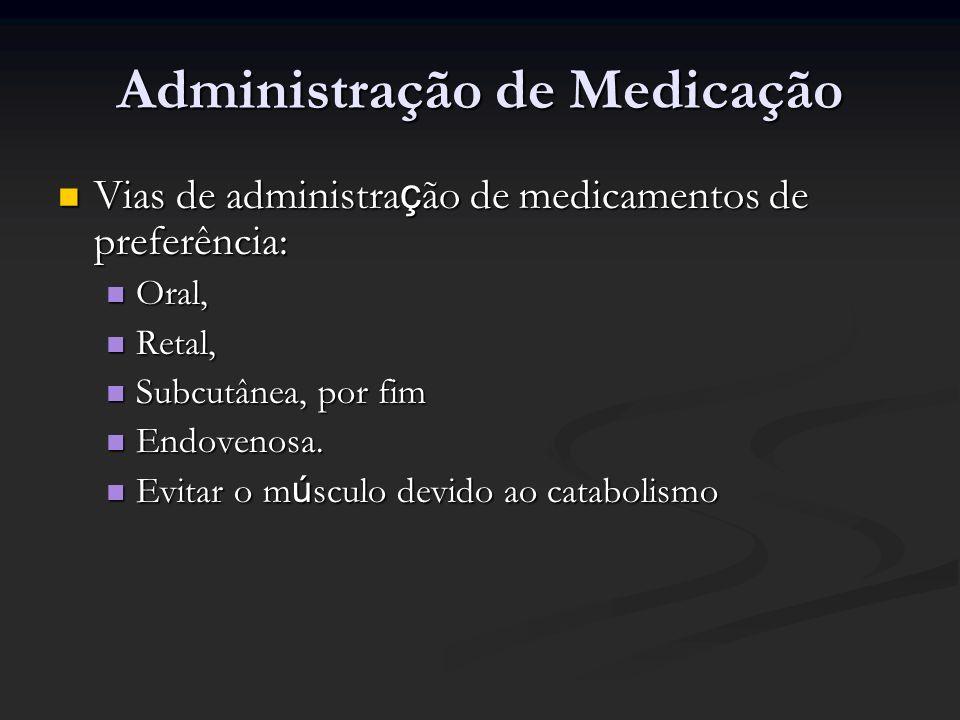 Administração de Medicação Vias de administra ç ão de medicamentos de preferência: Vias de administra ç ão de medicamentos de preferência: Oral, Oral,