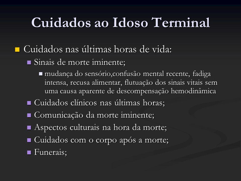 Cuidados ao Idoso Terminal Cuidados nas últimas horas de vida: Cuidados nas últimas horas de vida: Sinais de morte iminente; Sinais de morte iminente;