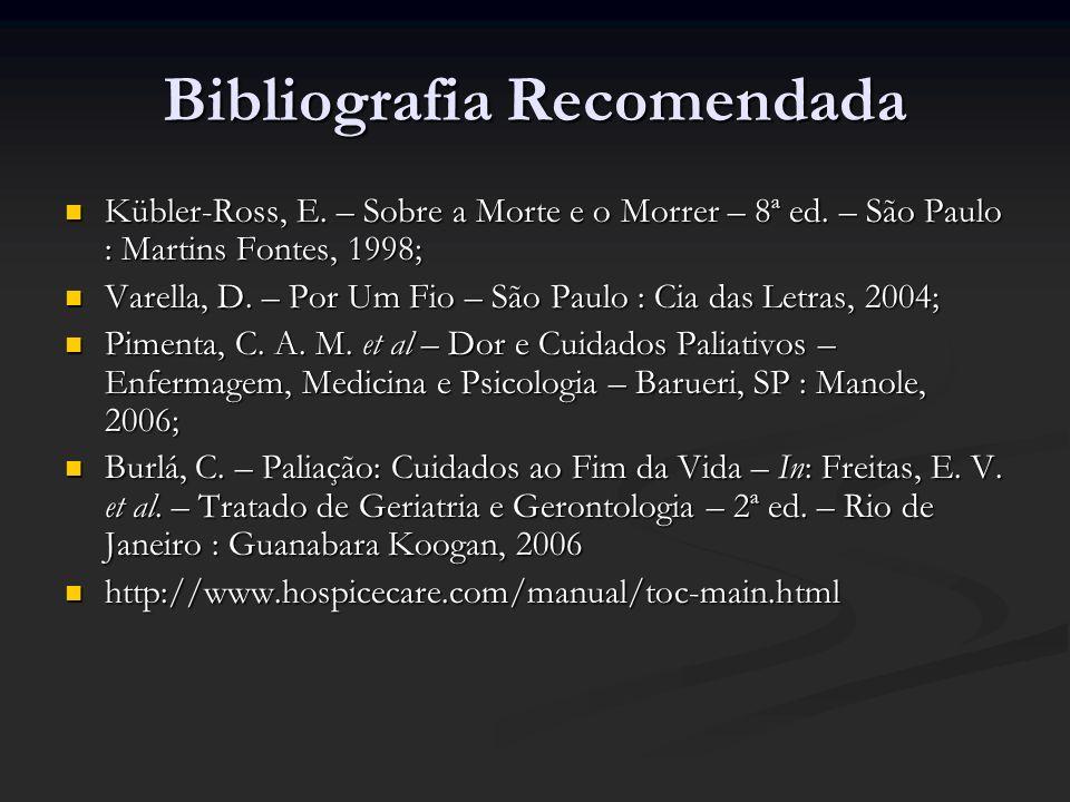 Bibliografia Recomendada Kübler-Ross, E. – Sobre a Morte e o Morrer – 8ª ed. – São Paulo : Martins Fontes, 1998; Kübler-Ross, E. – Sobre a Morte e o M