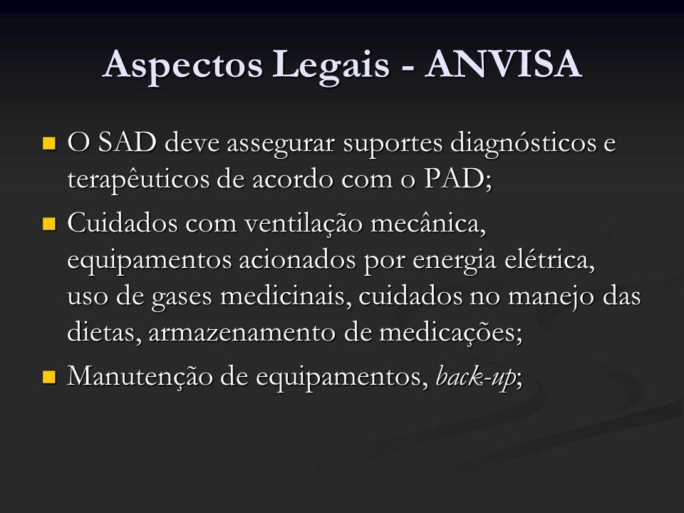 Aspectos Legais - ANVISA O SAD deve assegurar suportes diagnósticos e terapêuticos de acordo com o PAD; O SAD deve assegurar suportes diagnósticos e t