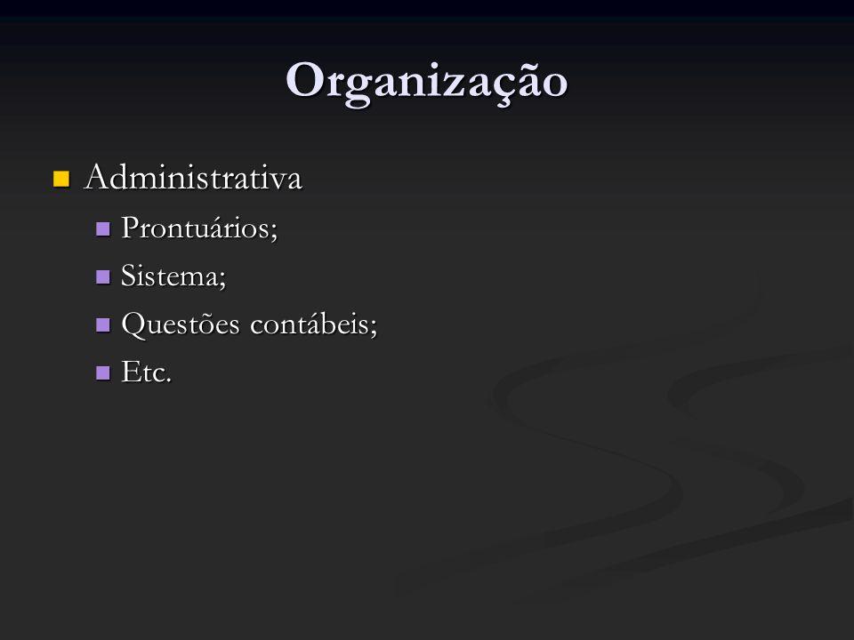 Organização Administrativa Administrativa Prontuários; Prontuários; Sistema; Sistema; Questões contábeis; Questões contábeis; Etc. Etc.