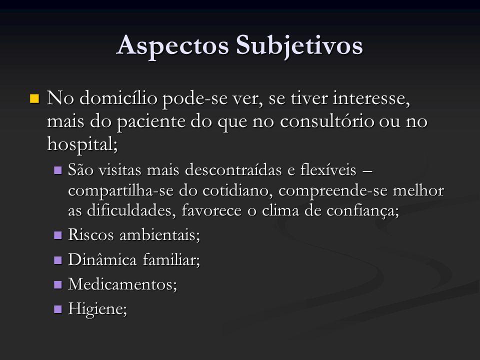 Aspectos Subjetivos No domicílio pode-se ver, se tiver interesse, mais do paciente do que no consultório ou no hospital; No domicílio pode-se ver, se