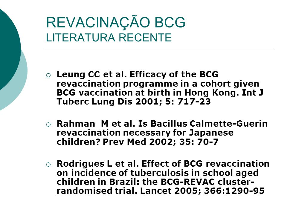 REVACINAÇÃO BCG LITERATURA RECENTE Leung CC et al. Efficacy of the BCG revaccination programme in a cohort given BCG vaccination at birth in Hong Kong