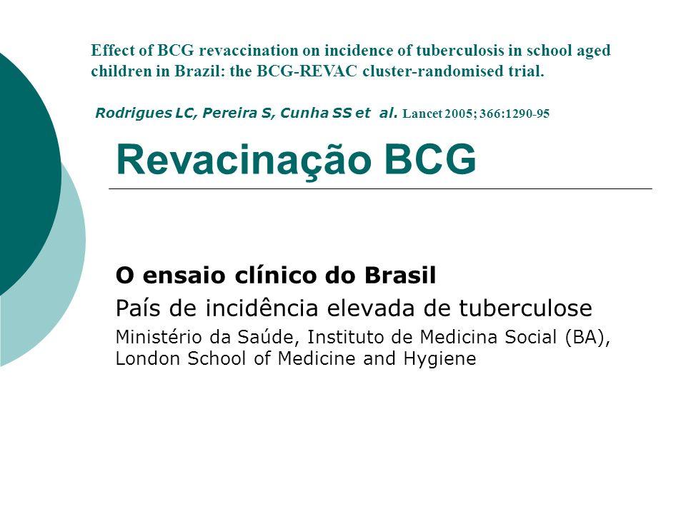 Revacinação BCG O ensaio clínico do Brasil País de incidência elevada de tuberculose Ministério da Saúde, Instituto de Medicina Social (BA), London Sc