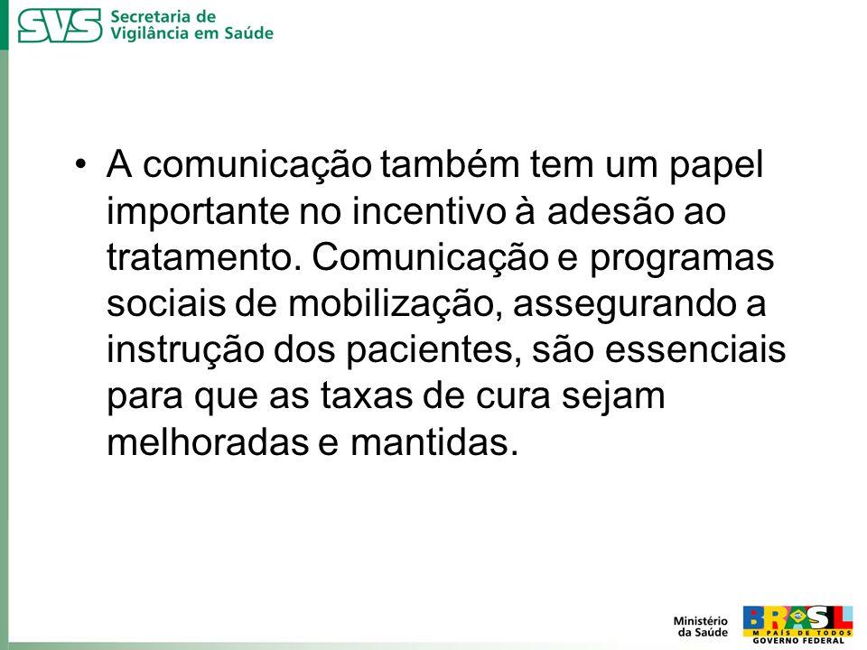 A comunicação também tem um papel importante no incentivo à adesão ao tratamento. Comunicação e programas sociais de mobilização, assegurando a instru