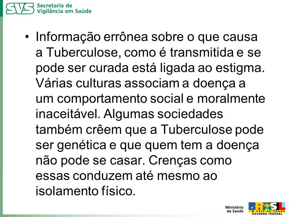 Informação errônea sobre o que causa a Tuberculose, como é transmitida e se pode ser curada está ligada ao estigma. Várias culturas associam a doença