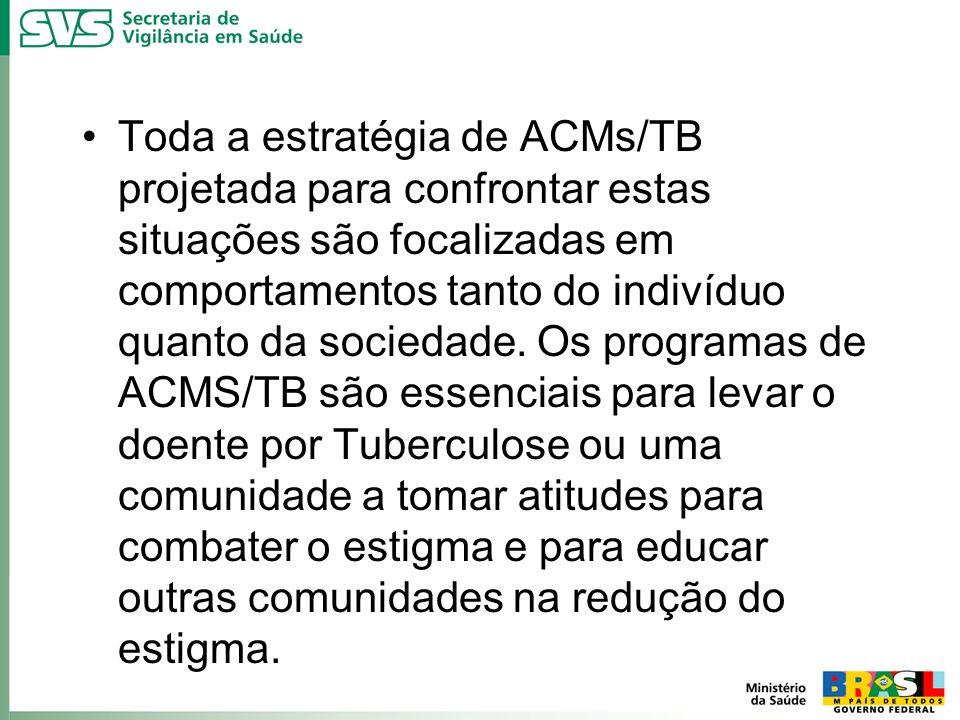 Toda a estratégia de ACMs/TB projetada para confrontar estas situações são focalizadas em comportamentos tanto do indivíduo quanto da sociedade. Os pr