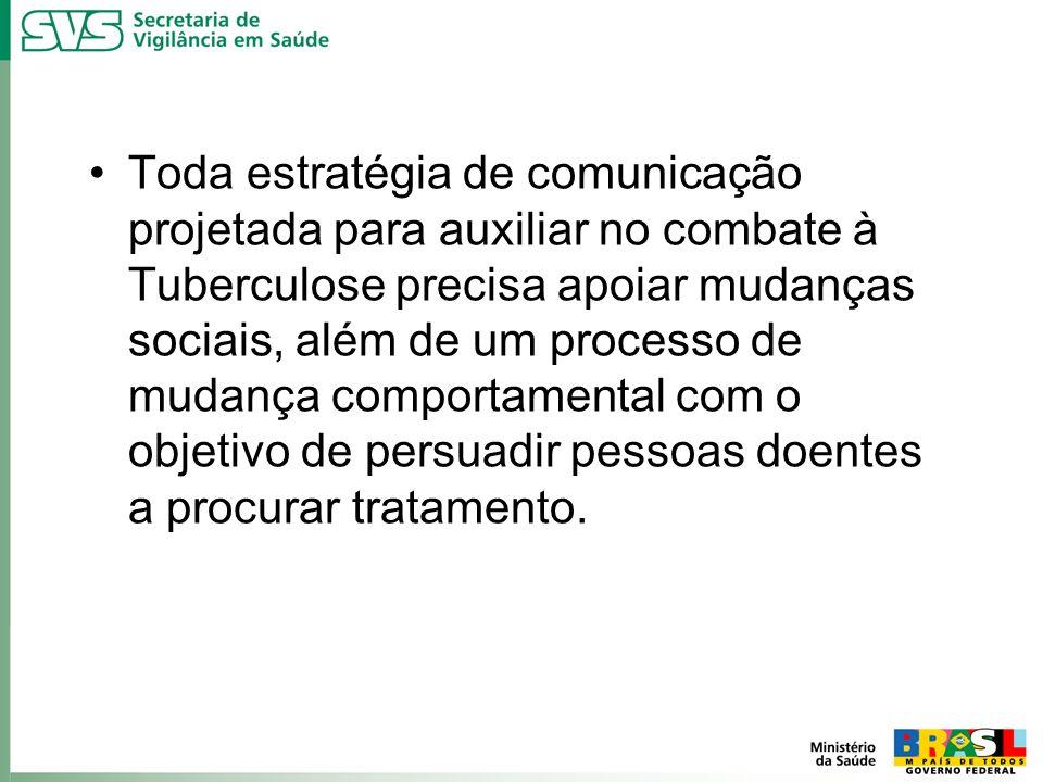 Toda estratégia de comunicação projetada para auxiliar no combate à Tuberculose precisa apoiar mudanças sociais, além de um processo de mudança compor