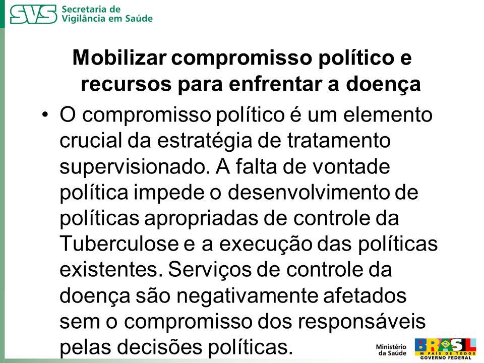 Mobilizar compromisso político e recursos para enfrentar a doença O compromisso político é um elemento crucial da estratégia de tratamento supervision