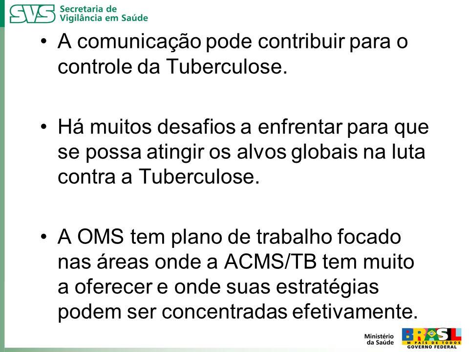 A comunicação pode contribuir para o controle da Tuberculose. Há muitos desafios a enfrentar para que se possa atingir os alvos globais na luta contra