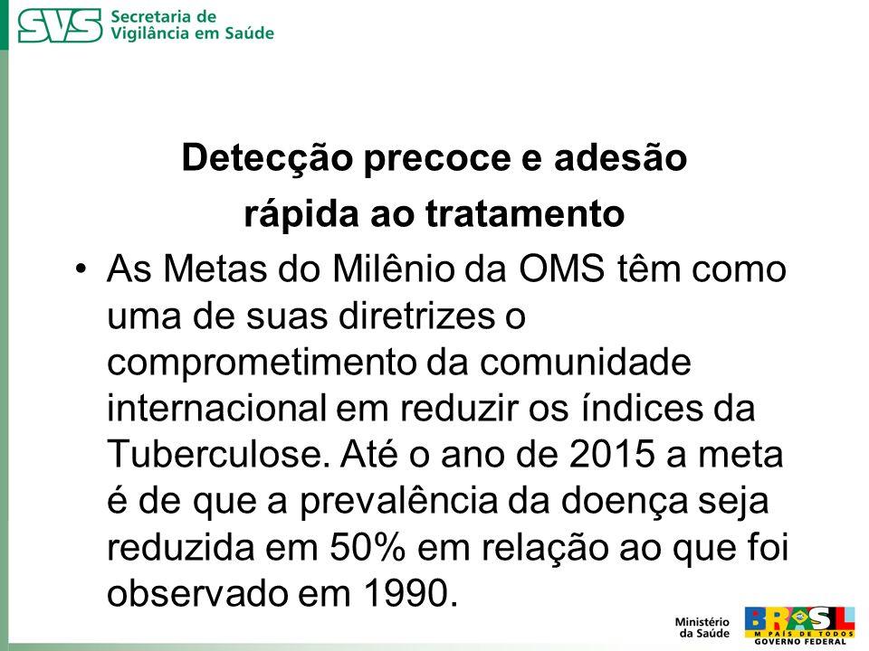 Detecção precoce e adesão rápida ao tratamento As Metas do Milênio da OMS têm como uma de suas diretrizes o comprometimento da comunidade internaciona