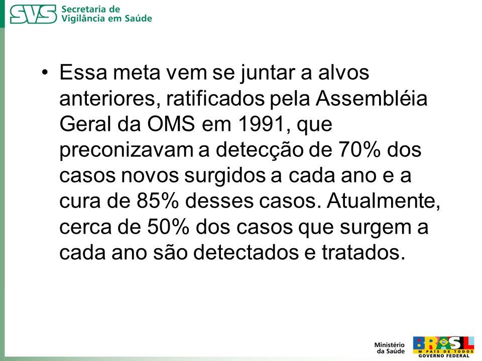 Essa meta vem se juntar a alvos anteriores, ratificados pela Assembléia Geral da OMS em 1991, que preconizavam a detecção de 70% dos casos novos surgi