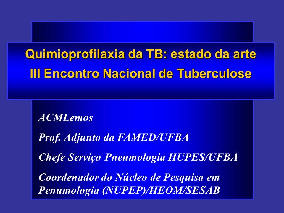 Quimioprofilaxia da TB: estado da arte III Encontro Nacional de Tuberculose ACMLemos Prof. Adjunto da FAMED/UFBA Chefe Serviço Pneumologia HUPES/UFBA