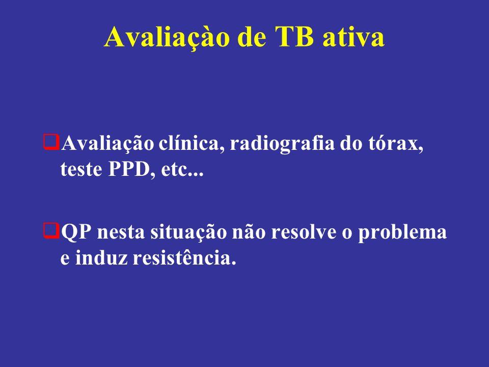 Avaliaçào de TB ativa Avaliação clínica, radiografia do tórax, teste PPD, etc... QP nesta situação não resolve o problema e induz resistência.