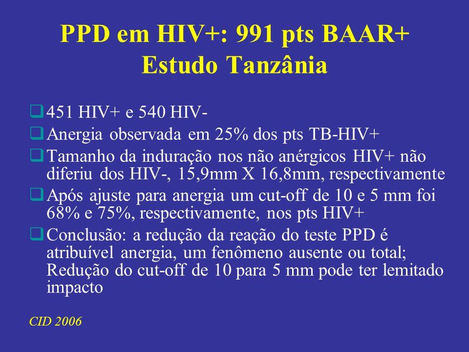 PPD em HIV+: 991 pts BAAR+ Estudo Tanzânia 451 HIV+ e 540 HIV- Anergia observada em 25% dos pts TB-HIV+ Tamanho da induração nos não anérgicos HIV+ não diferiu dos HIV-, 15,9mm X 16,8mm, respectivamente Após ajuste para anergia um cut-off de 10 e 5 mm foi 68% e 75%, respectivamente, nos pts HIV+ Conclusão: a redução da reação do teste PPD é atribuível anergia, um fenômeno ausente ou total; Redução do cut-off de 10 para 5 mm pode ter lemitado impacto CID 2006