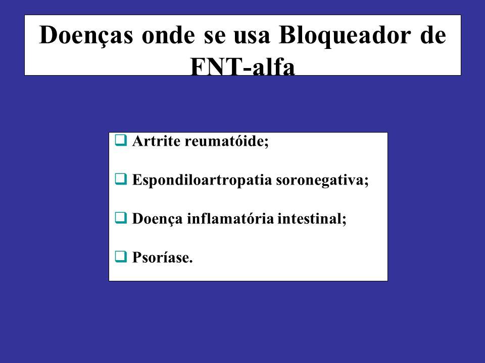Doenças onde se usa Bloqueador de FNT-alfa Artrite reumatóide; Espondiloartropatia soronegativa; Doença inflamatória intestinal; Psoríase.