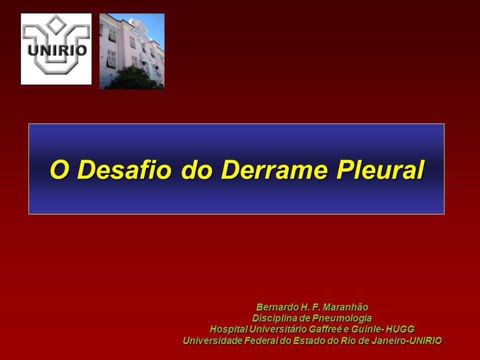 O Desafio do Derrame Pleural Bernardo H. F. Maranhão Disciplina de Pneumologia Hospital Universitário Gaffreé e Guinle- HUGG Universidade Federal do E