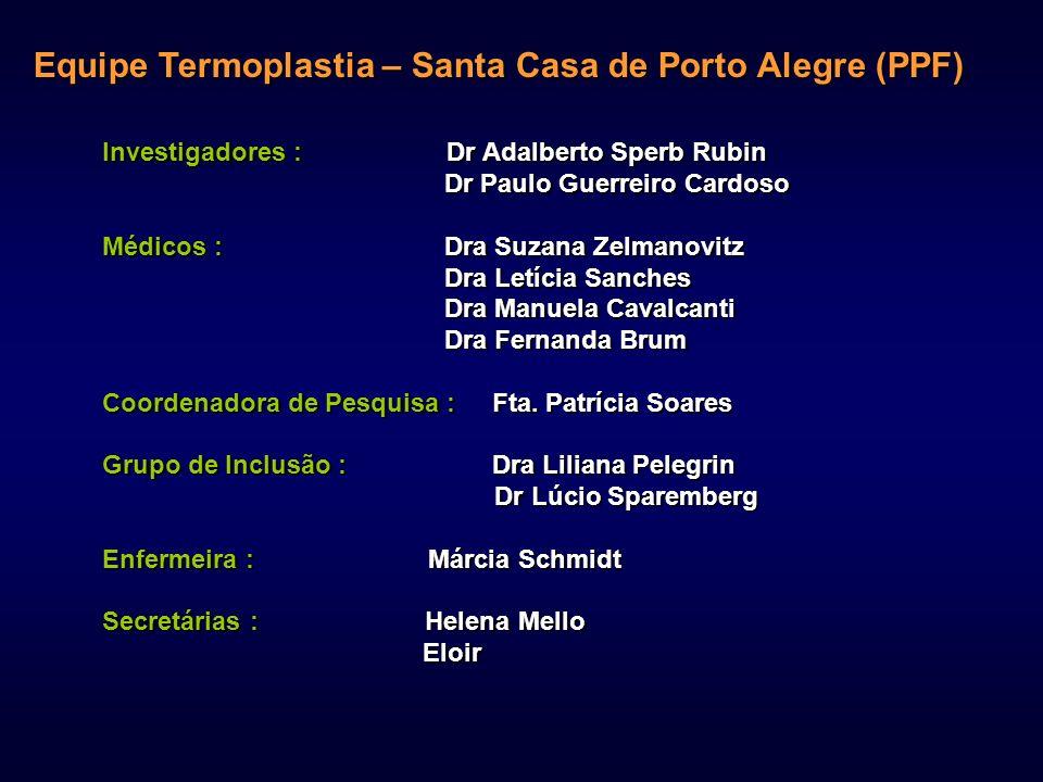 Equipe Termoplastia – Santa Casa de Porto Alegre (PPF) Investigadores : Dr Adalberto Sperb Rubin Dr Paulo Guerreiro Cardoso Dr Paulo Guerreiro Cardoso