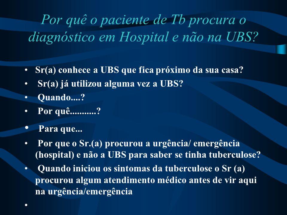Por quê o paciente de Tb procura o diagnóstico em Hospital e não na UBS? Sr(a) conhece a UBS que fica próximo da sua casa? Sr(a) já utilizou alguma ve