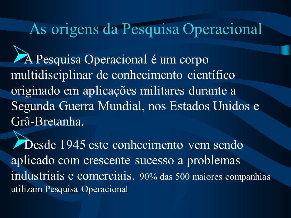 As origens da Pesquisa Operacional A Pesquisa Operacional é um corpo multidisciplinar de conhecimento científico originado em aplicações militares dur