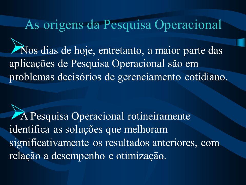 As origens da Pesquisa Operacional Nos dias de hoje, entretanto, a maior parte das aplicações de Pesquisa Operacional são em problemas decisórios de g