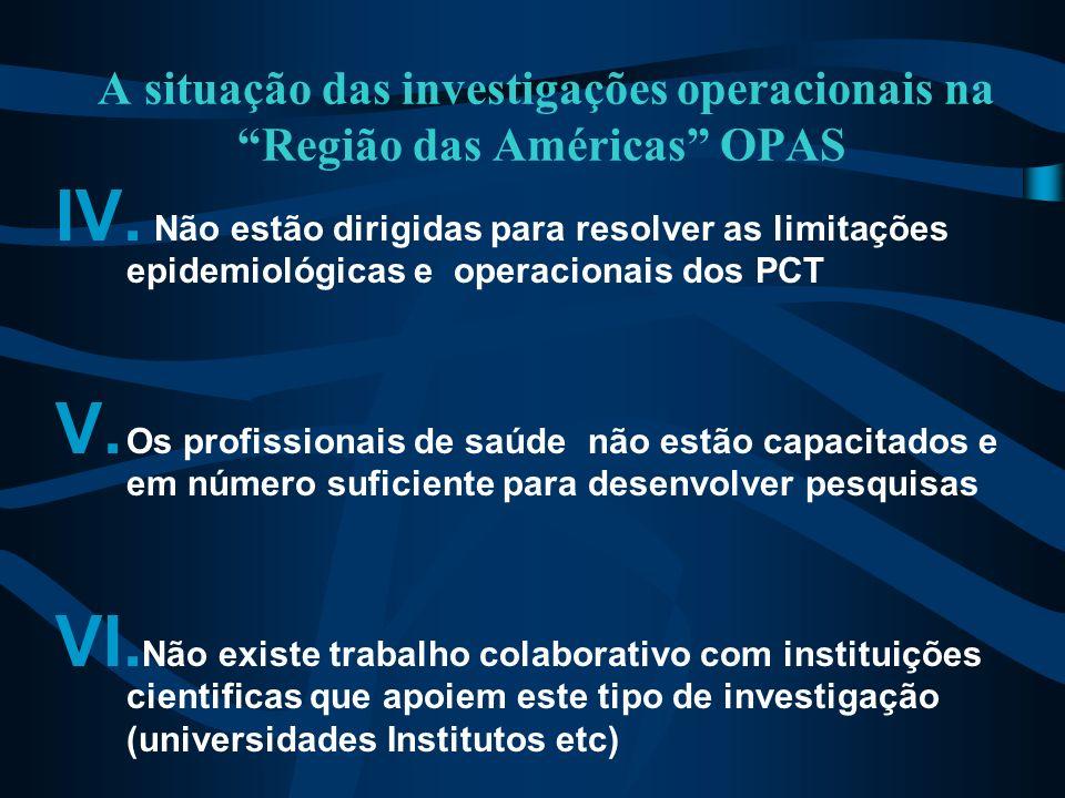 A situação das investigações operacionais na Região das Américas OPAS IV. -Não estão dirigidas para resolver as limitações epidemiológicas e operacion