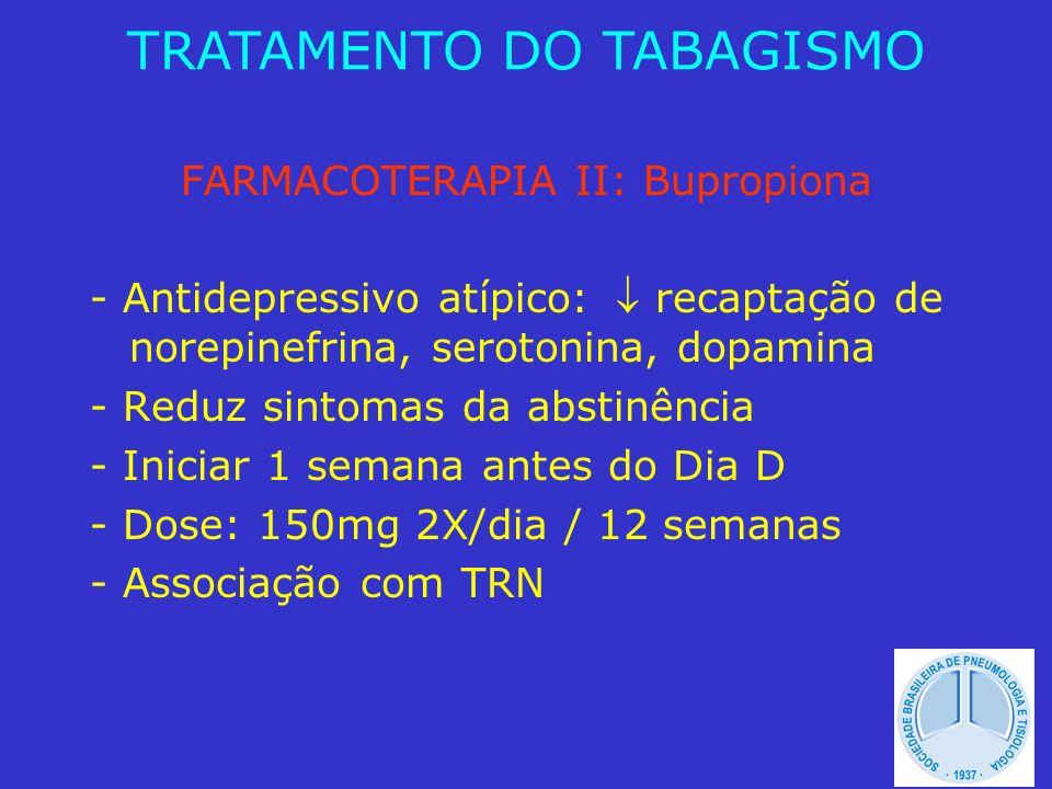 FARMACOTERAPIA II: Bupropiona - Antidepressivo atípico: recaptação de norepinefrina, serotonina, dopamina - Reduz sintomas da abstinência - Iniciar 1