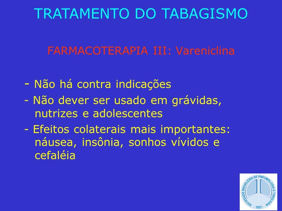 FARMACOTERAPIA III: Vareniclina - Não há contra indicações - Não dever ser usado em grávidas, nutrizes e adolescentes - Efeitos colaterais mais import