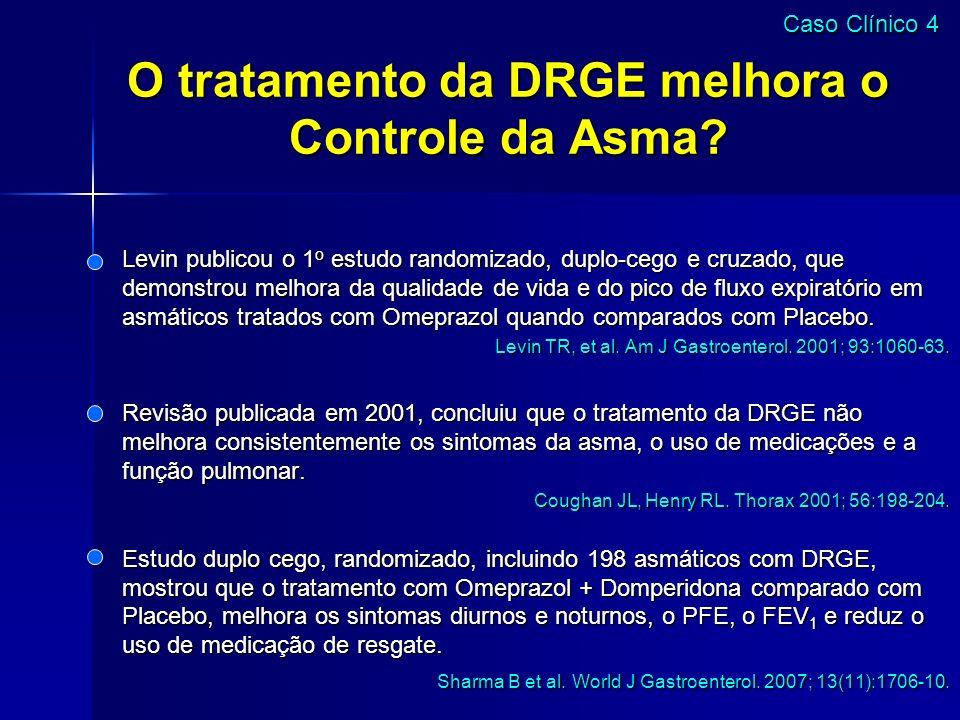 O tratamento da DRGE melhora o Controle da Asma? Levin publicou o 1 o estudo randomizado, duplo-cego e cruzado, que demonstrou melhora da qualidade de