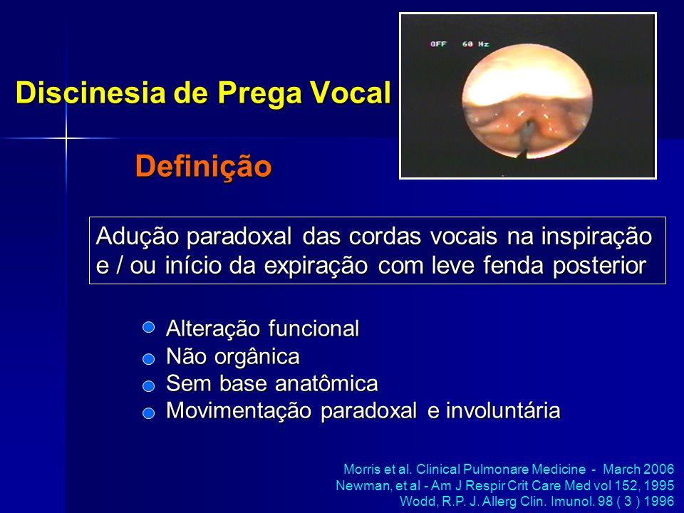 Discinesia de Prega Vocal Definição Morris et al. Clinical Pulmonare Medicine - March 2006 Newman, et al - Am J Respir Crit Care Med vol 152, 1995 Wod