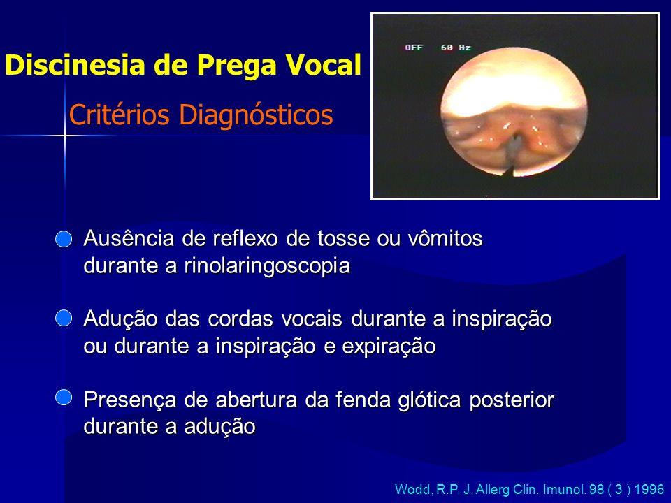 Critérios Diagnósticos Discinesia de Prega Vocal Wodd, R.P. J. Allerg Clin. Imunol. 98 ( 3 ) 1996 Ausência de reflexo de tosse ou vômitos durante a ri