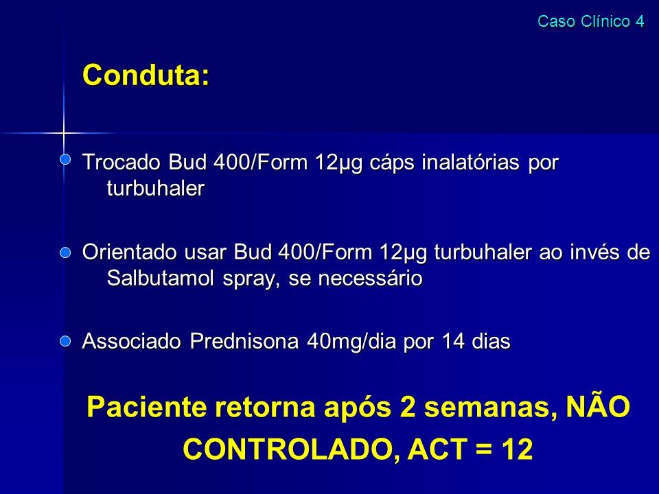 Conduta: Trocado Bud 400/Form 12µg cáps inalatórias por turbuhaler Orientado usar Bud 400/Form 12µg turbuhaler ao invés de Salbutamol spray, se necess