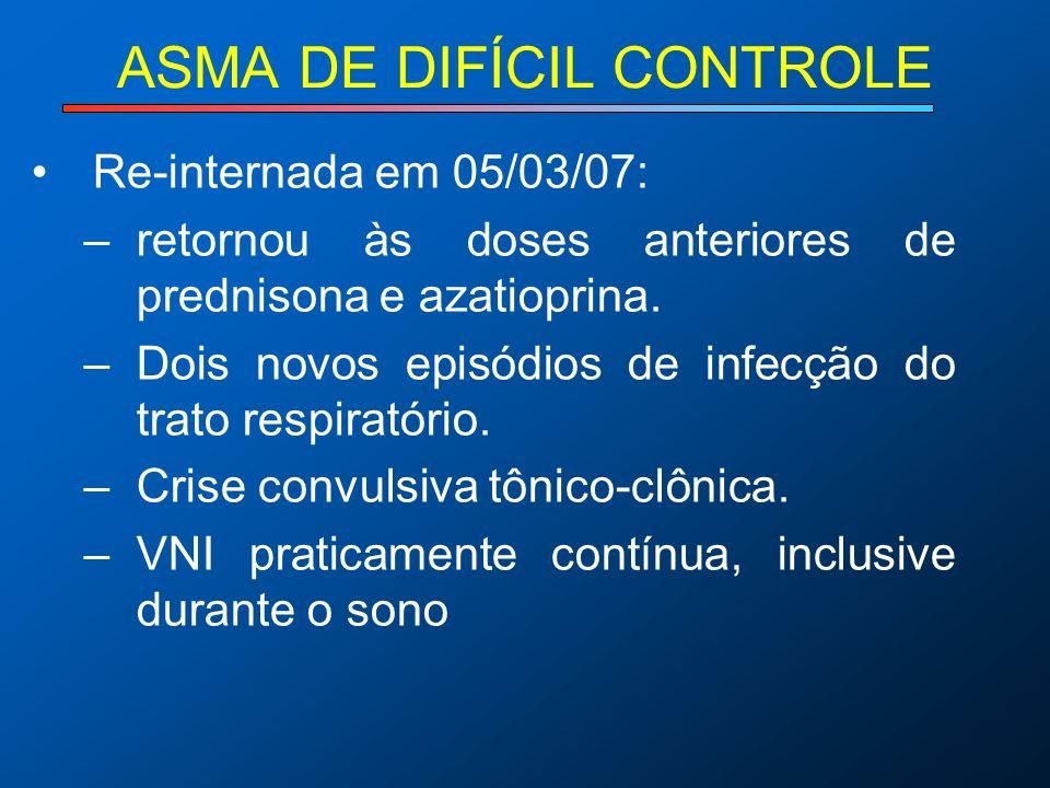 ASMA DE DIFÍCIL CONTROLE Re-internada em 05/03/07: –retornou às doses anteriores de prednisona e azatioprina. –Dois novos episódios de infecção do tra