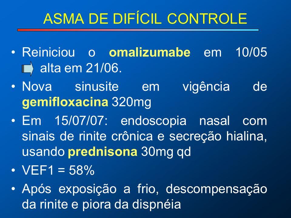 ASMA DE DIFÍCIL CONTROLE Reiniciou o omalizumabe em 10/05 alta em 21/06. Nova sinusite em vigência de gemifloxacina 320mg Em 15/07/07: endoscopia nasa