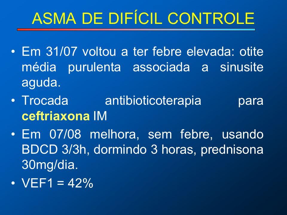ASMA DE DIFÍCIL CONTROLE Em 31/07 voltou a ter febre elevada: otite média purulenta associada a sinusite aguda. Trocada antibioticoterapia para ceftri