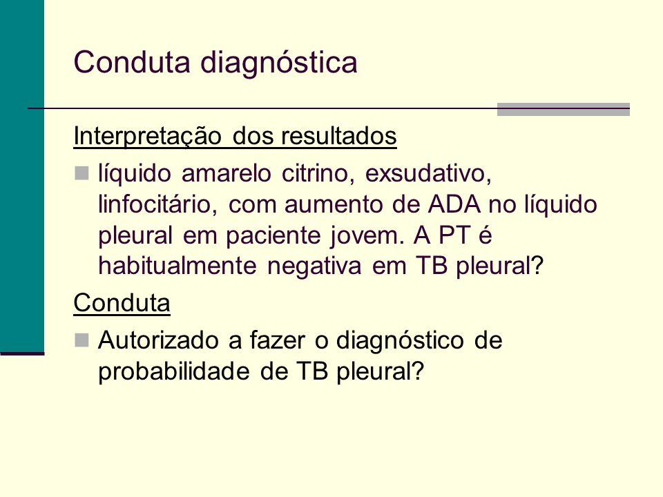 Conduta diagnóstica Interpretação dos resultados líquido amarelo citrino, exsudativo, linfocitário, com aumento de ADA no líquido pleural em paciente jovem.