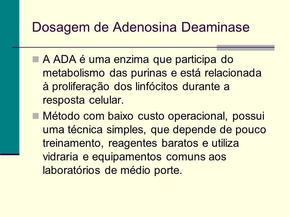 Dosagem de Adenosina Deaminase A ADA é uma enzima que participa do metabolismo das purinas e está relacionada à proliferação dos linfócitos durante a resposta celular.