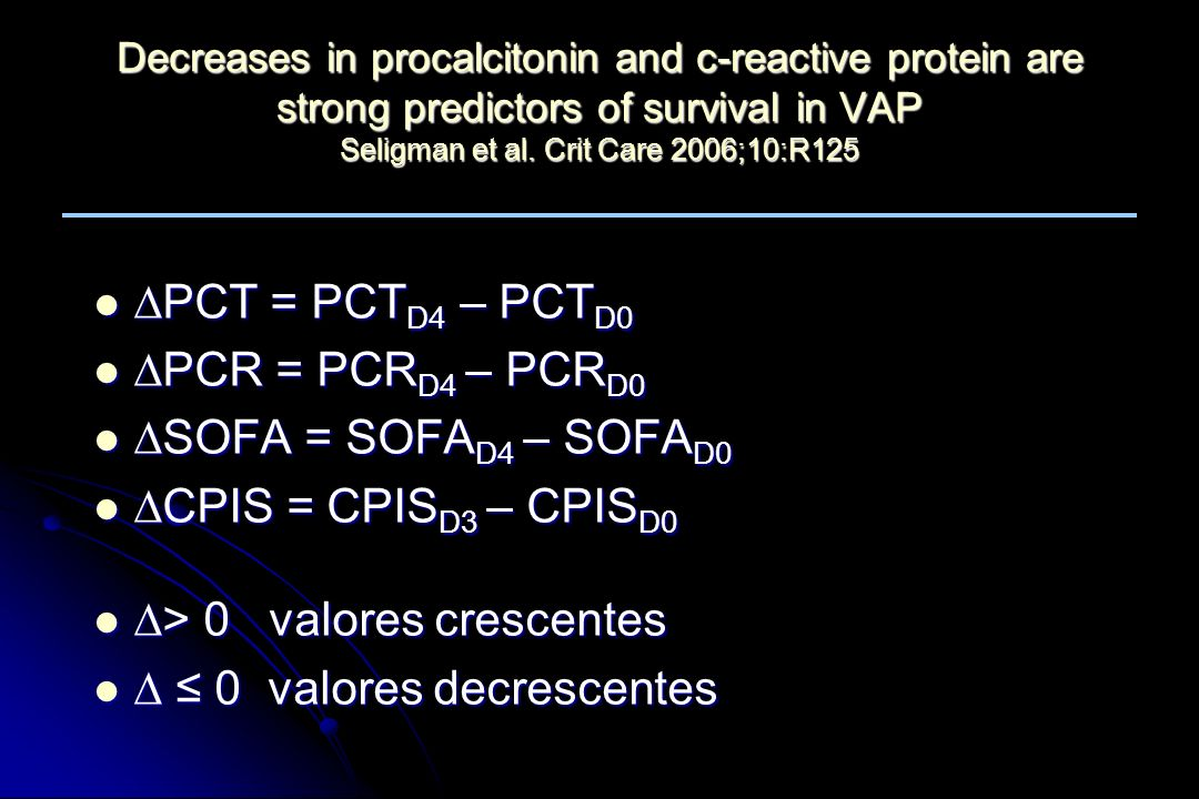 Decreases in procalcitonin and c-reactive protein are strong predictors of survival in VAP Seligman et al. Crit Care 2006;10:R125 PCT = PCT D4 – PCT D