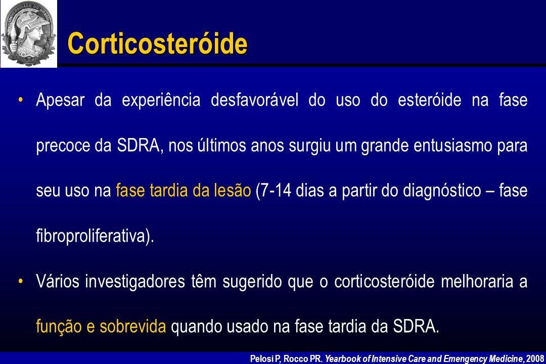 Autor NúmeroDiagnóstico Grupo controle RandomizadoProspectivo Duplo cego Dose MMPDuraçãoEvolução Meduri et al (1991) 8SDRA tardiaNão 2 mg/kg bolus, 2–3 mg/kg 6 h Até extubação Redução de LIS Meduri et al (1994) 25SDRA tardiaNão SimNão 200 mg bolus, 2–3 mg/kg/dia Até extubação Redução de LIS, melhora PaO 2 /FiO 2 Biffl et al (1995) 6 SDRA tardia Falência terapêutica convencional Não SimNão1–2 mg/kg 6 h 83% sobrevida; melhora da LIS e PaO 2 /FiO 2 Meduri et al (1995) 9SDRA tardiaNão SimNão 200 mg bolus, 2–3 mg/kg/dia Até extubação (média 6 semanas) Redução de citocinas no BAL e plasma Hooper et al (1996) 26 SDRA estabilizada >3 dias Não SimNão 125–250 mg 6 h por 3–4 dias redução de 50% a cada 2–3 dias Meduri et al (1998) 24SDRA tardiaSim 2 mg/kg – 0.5 mg/kg 6 h reduzindo semanalmente para 1 mg/kg/dia, 0.5 mg/kg/dia então 0.15 mg/kg /dia 32 dias Redução da LIS, MODS, mortalidade 81% sobrevida Corticosteróide na fase tardia da SDRA Fernandes AB, Zin WA, Rocco PR Braz J Med Biol Res 2005; 38: 147-159