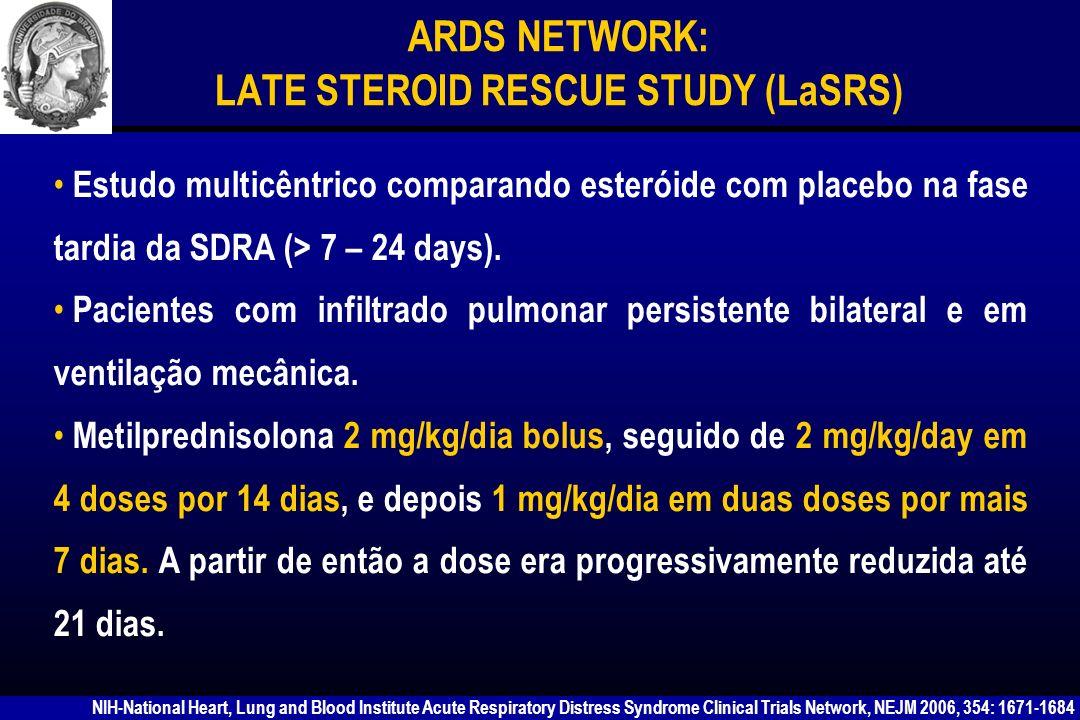 ARDS NETWORK: LATE STEROID RESCUE STUDY (LaSRS) Pro: Pacientes tratados com esteróide eram retirados da prótese mais precocemente (14 dias) em comparação com o placebo (23 dias) e apresentavam melhora da oxigenação e da complacência estática.