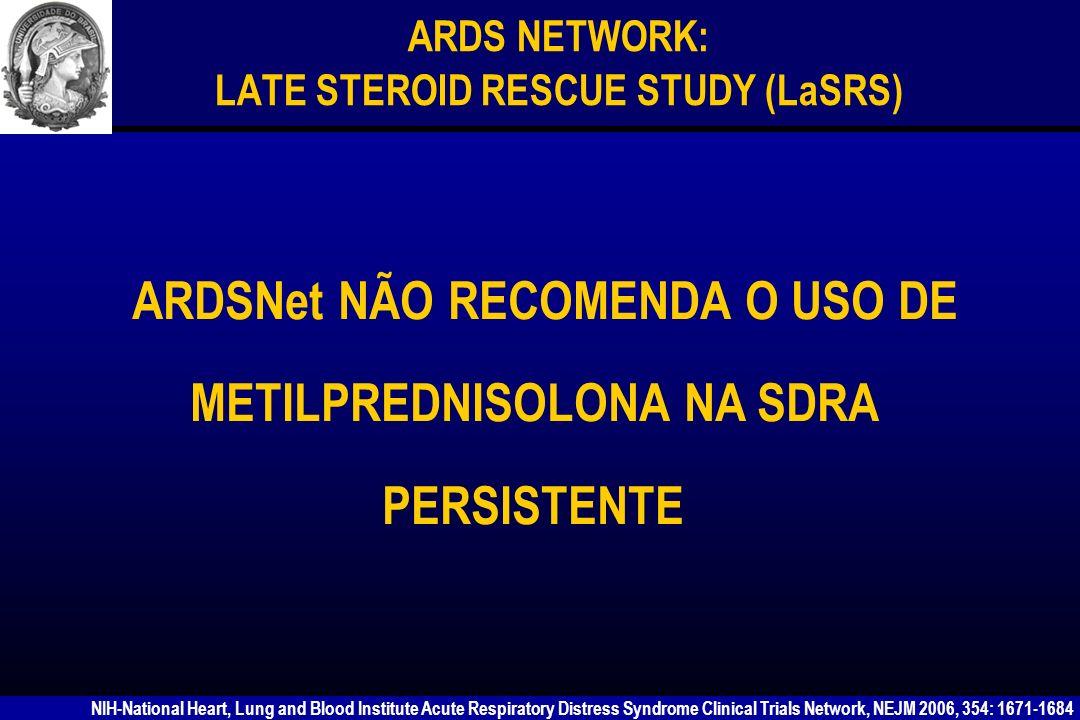 Rocco et al Am J Respir Crit Care Med 2003; 168: 677-84 O uso de metilprednisolona na fase precoce da LPA impediu as modificações morfofuncionais pulmonares na lesão leve e minimizou na lesão grave.