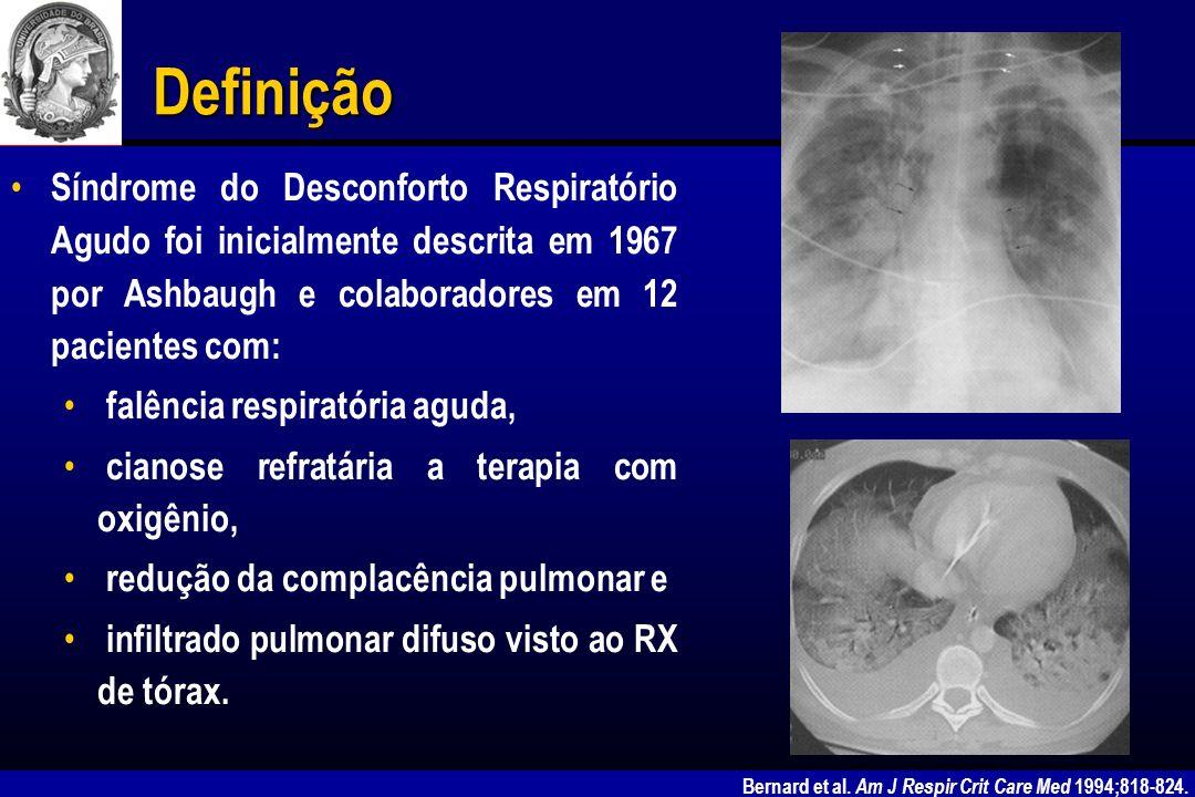 SDRA – Etiologia Coagulação intravascular disseminada Edema por reperfusão pulmonar Lesão por inalação (fumaça.