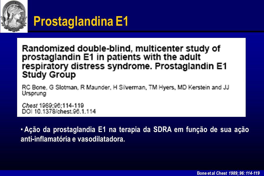 Bone et al Chest 1989; 96: 114-119 Prostaglandina E1 A administração de PGE1 acarretou hipotensão arterial sistêmica