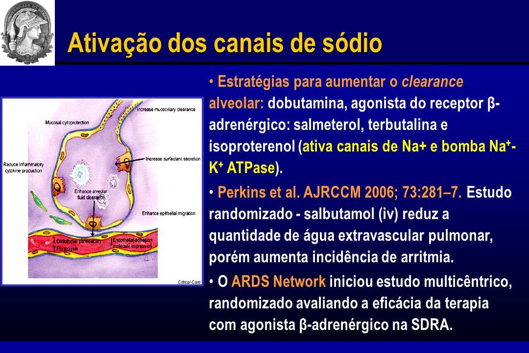 Fatores de crescimento para induzir reparo do epitélio alveolar Fator de crescimento de queratinócito (KGF) é um potente estimulador do PII, promovendo reparo do alvéolo e remoção do fluido alveolar.